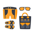slippers shorts sun glasses and bag in orange vector image vector image