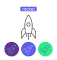 space rocket outline icons set vector image