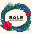 summer sale poster with palm leaves circle and vector image