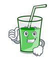 thumbs up green smoothie character cartoon vector image vector image