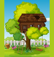 treehouse with swing in the park vector image vector image