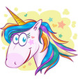 unicorn face cartoon on background vector image vector image