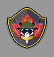 war emblem Military logo Skull wearing a helmet vector image vector image