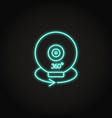 360 degree camera icon in glowing neon style vector image vector image