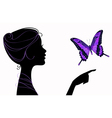 Beautiful girl silhouette with butterfly vector | Price: 1 Credit (USD $1)