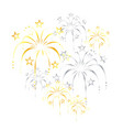 beautiful gold silver stylized fireworks vector image vector image