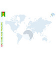 blue world map with magnifying on sao tome vector image vector image