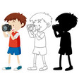 boy shooting photo with camera in color vector image vector image