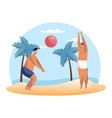 cartoon people playing summer volleyball on beach vector image vector image