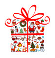 christmas gift with ornaments vector image