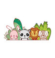 cute animals little lion rabbit panda dog cartoon vector image
