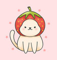 cute cat wearing strawberry hat hand drawn vector image