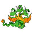 cute three headed dragon vector image