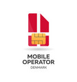 denmark mobile operator sim card with flag vector image vector image