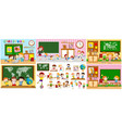 different scenes of classrooms with kids vector image vector image