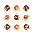 donuts - set of mascot vector image vector image