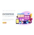 enterprise it management concept landing page vector image vector image