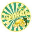 flat bright healthy lemonade round sticker vector image vector image
