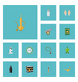 flat icons genie prayer carpet artillery and vector image vector image