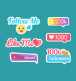 follow and like me stickers with emoji set vector image