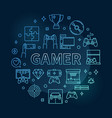 gamer round concept blue thin line vector image