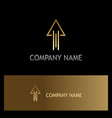 gold arrow up line logo vector image vector image