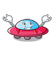 grinning ufo character cartoon style vector image