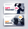 gym gift voucher template with body builder vector image vector image