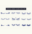 hand drawn feminine closed pair of eyes icons set vector image vector image