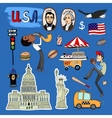 hand-drawn USA Landmarks set vector image