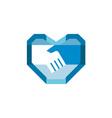 Handshake Forming Heart Shape Retro vector image