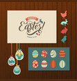 happy easter calligraphy greeting card set hand vector image vector image