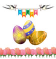 Happy easter greeting card swallows eggs tulips