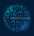 i love smoothies blue thin line vector image vector image