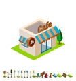 isometric bar building icon infographic vector image vector image