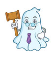 judge cute ghost character cartoon vector image vector image