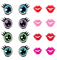 Kawaii cute eyes and lips icons set