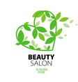 logo heart of green leaves to the beauty salon vector image vector image