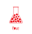Love laboratory glass with hearts inside Card vector image