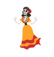 mexican woman skeleton in a dress dancing day of vector image vector image