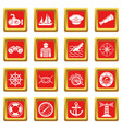 nautical icons set red square vector image