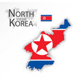 north korea flag and map vector image vector image