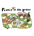picnic on grass outdoor nature hand drawn vector image vector image