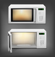 realistic microwave oven with light inside vector image vector image