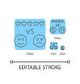 recommendation blue linear icons set vector image
