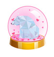 romantic crystal ball with low poly bear and vector image