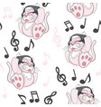 seamless pattern with cute cartoon kitten with vector image