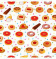 seamless pattern with fruit cookies and cakes vector image vector image