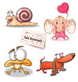 snail elephant frog dog - set animals vector image vector image