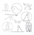 stand up paddling silhouette linear icon vector image vector image